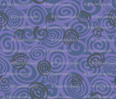 A spiralling fishy tail (blue)
