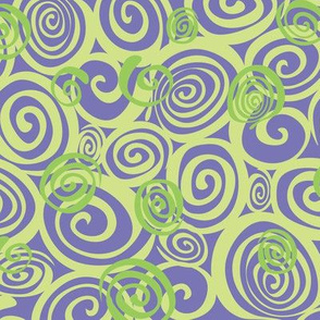 A spiralling fishy tail (purple and green)