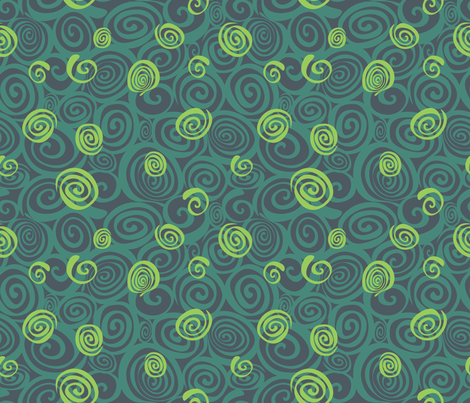 A spiralling fishy tail (jade and green) fabric by bippidiiboppidii on Spoonflower - custom fabric