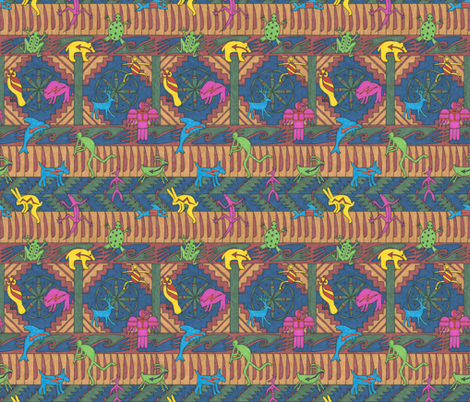Indian Motifs on a Blue Background fabric by greenvironment on Spoonflower - custom fabric