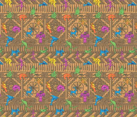 Indian Motifs on a Brown Background fabric by greenvironment on Spoonflower - custom fabric