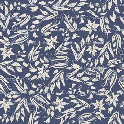 grey flowers on blue