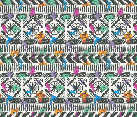 Indian Motifs on a White Background fabric by greenvironment on Spoonflower - custom fabric