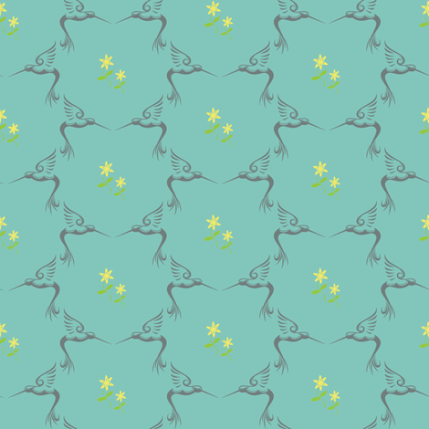 Hummingbird fabric by ivoryshades on Spoonflower - custom fabric