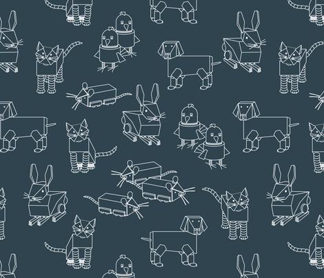 eulen&lerchen_robots_outline fabric by eulen&lerchen on Spoonflower - custom fabric