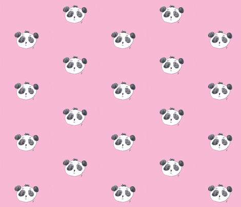 Preston The Panda On Pink Fabric By Poppygoeshappy Spoonflower