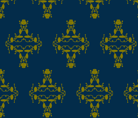 Navy and Olive Damask fabric by captiveinflorida on Spoonflower - custom fabric