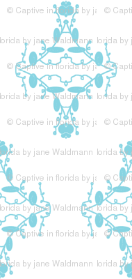White and Turquoise Damask