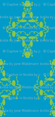 Turquoise and Lime Damask