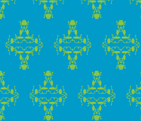 Turquoise and Lime Damask fabric by captiveinflorida on Spoonflower - custom fabric