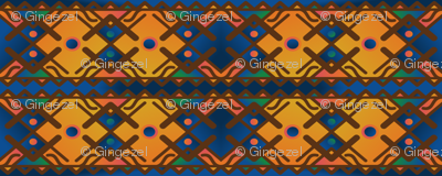Tribal Geometric in Gold and Blue © Gingezel™ 2013