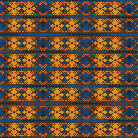 Tribal Geometric in Gold and Blue © Gingezel™ 2013 fabric by gingezel on Spoonflower - custom fabric