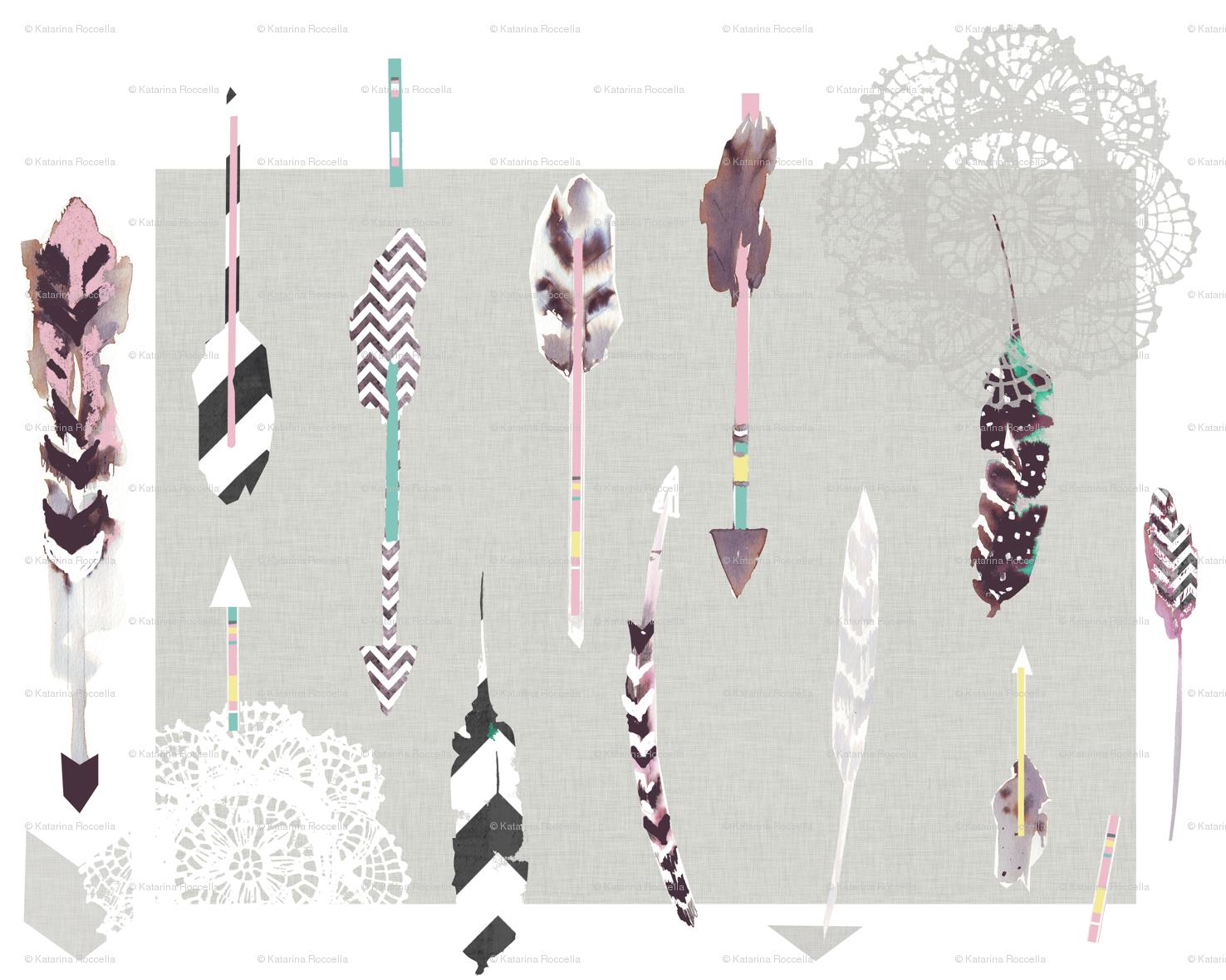 arrows feathers fabric katarina spoonflower