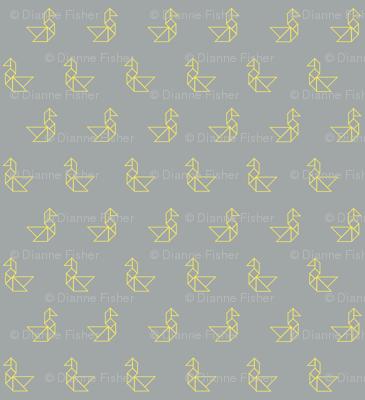 Tangram birds lemon outline on grey