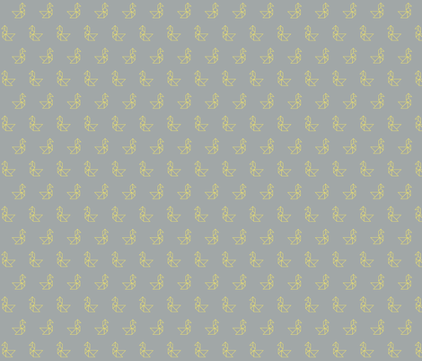 Tangram birds lemon outline on grey fabric by little_fish on Spoonflower - custom fabric