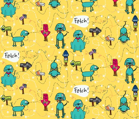 Woof, FETCH! fabric by majobv on Spoonflower - custom fabric