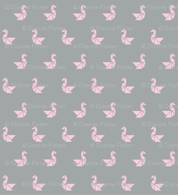 Tangram birds pale pink on grey