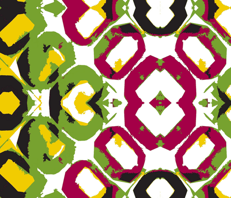 Old Floor Tiles - Goldenrod, Olive, Magenta fabric by susaninparis on Spoonflower - custom fabric