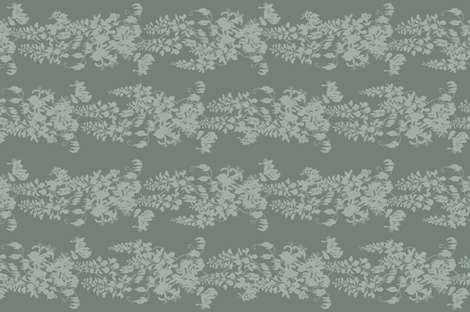 Wisteria & Honeysuckle Silhouette - grey/green fabric by gail_mcneillie on Spoonflower - custom fabric