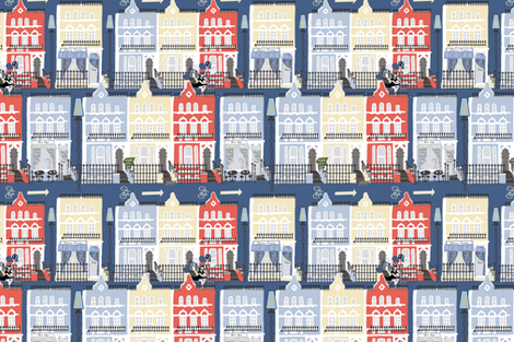 Notting Hill in the evening fabric by kociara on Spoonflower - custom fabric