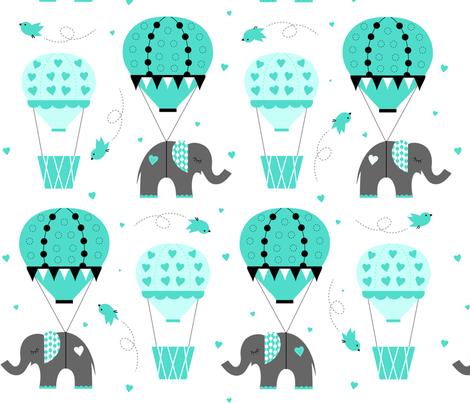 Hot Air Balloon Elephant Mint fabric by jenniferfranklin on Spoonflower - custom fabric