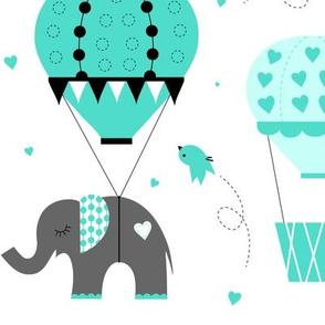 Hot Air Balloon Elephant Mint