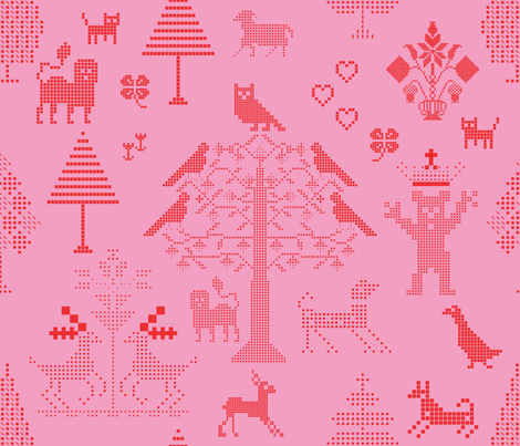 Pink Cross Stitch  fabric by chickoteria on Spoonflower - custom fabric