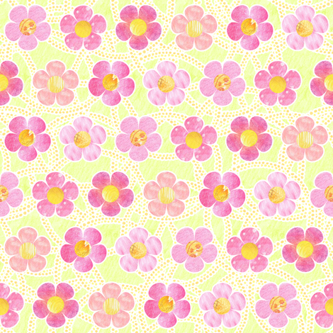 Pink Patterened Flowers fabric by siya on Spoonflower - custom fabric