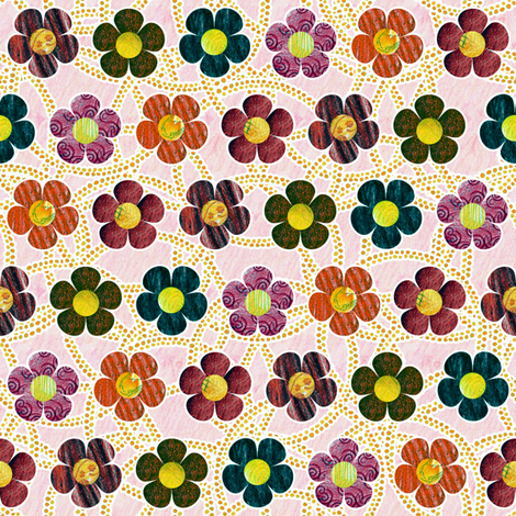 Autumn Patterened Flowers fabric by siya on Spoonflower - custom fabric