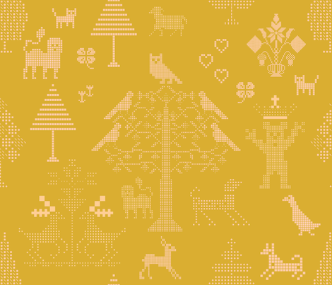 Butterscotch Cross Stitch Pattern fabric by chickoteria on Spoonflower - custom fabric