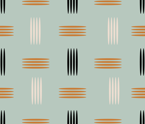 Mid Century Modern Teal fabric by chickoteria on Spoonflower - custom fabric