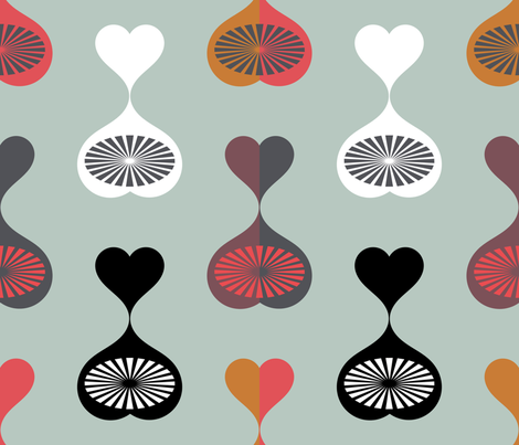 Mid Century Modern Hearts (Teal) fabric by chickoteria on Spoonflower - custom fabric