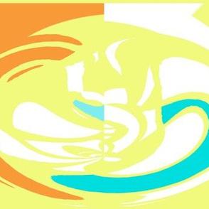 Cameo  - yellow aqua orange