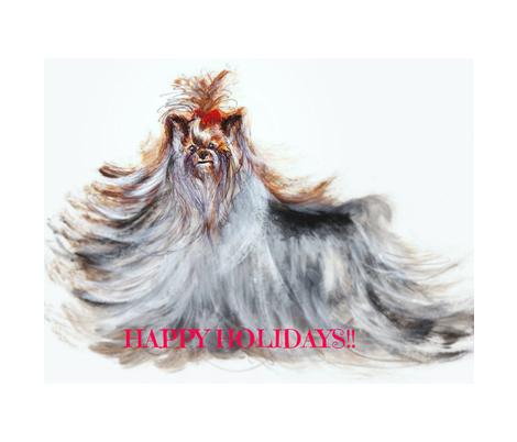 YORKIE BELLA ROSA  CHRISTMAS BELLS-ed fabric by kaylah-marie on Spoonflower - custom fabric