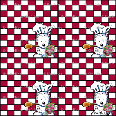 Westie Chef On Checkered Red