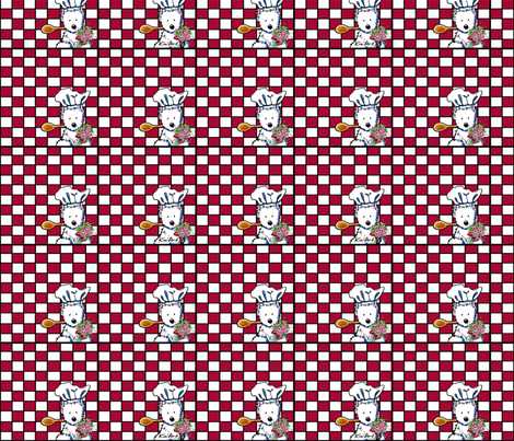 Westie Chef On Checkered Red fabric by kiniart on Spoonflower - custom fabric