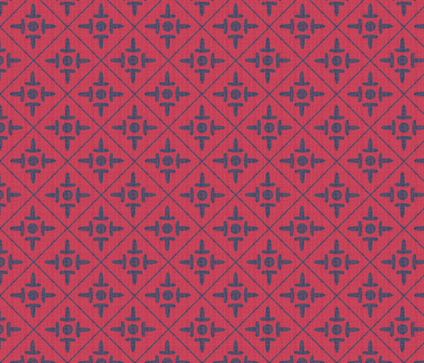 after_matisse_colonial_cross_red_blue_peach fabric by glimmericks on Spoonflower - custom fabric