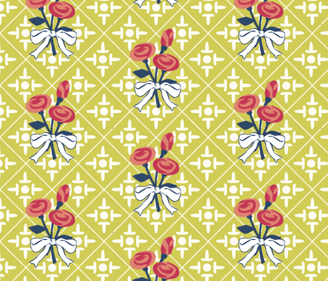 after matisse colonial cross and roses green gold fabric by glimmericks on Spoonflower - custom fabric