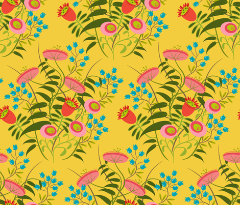 jolies fleurs no. 2 ~ bouton d'or fabric by retrorudolphs on Spoonflower - custom fabric