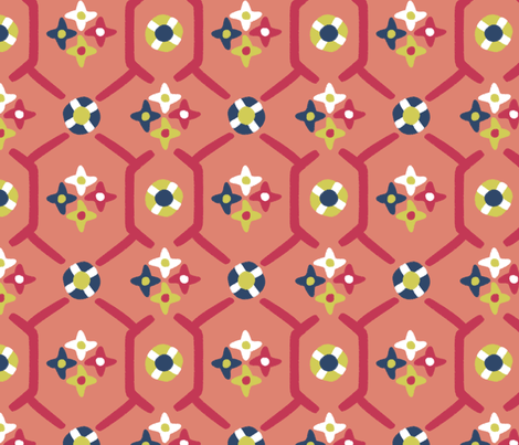 after_Matisse_floral_garden peach fabric by glimmericks on Spoonflower - custom fabric