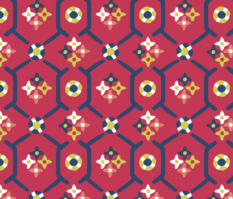 after_Matisse_floral_garden red fabric by glimmericks on Spoonflower - custom fabric