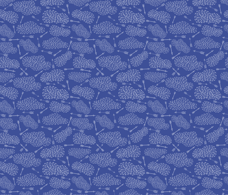 Cloudy arrows in blue, hand drawn fabric by dieuwertje on Spoonflower - custom fabric