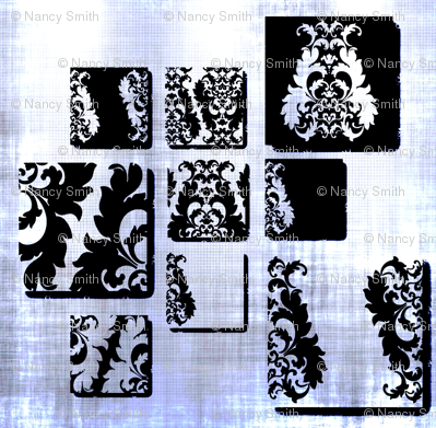 Damask squared blue/silver