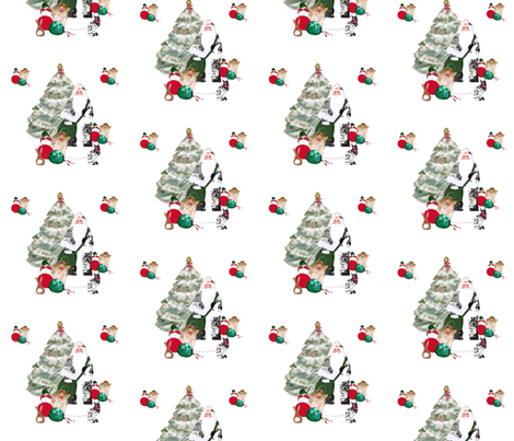 Father Christmas and his favorite ornaments fabric by karenharveycox on Spoonflower - custom fabric