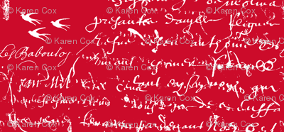 French Script Bold Red