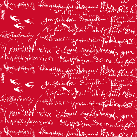 French Script Bold Red fabric by karenharveycox on Spoonflower - custom fabric