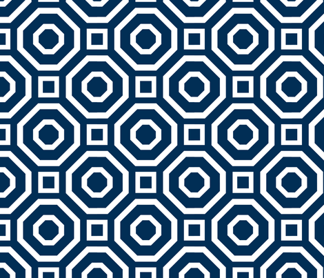 Geometry Classic Navy fabric by alicia_vance on Spoonflower - custom fabric