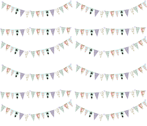 French Script Bunting Large 10 x 9 fabric by karenharveycox on Spoonflower - custom fabric