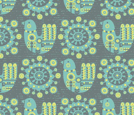 Folksy Birdie fabric by amel24 on Spoonflower - custom fabric