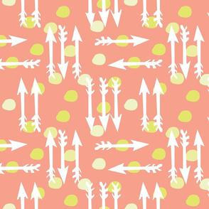Dotty Arrows 452 (salmon, key lime & white)